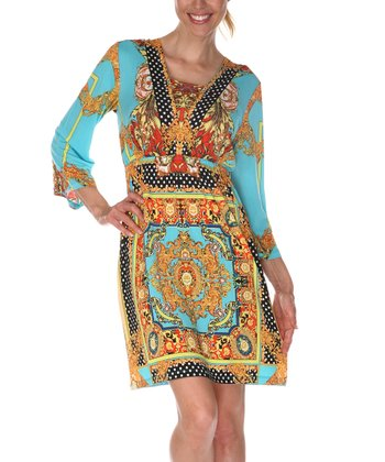 Gold & Turquoise Square Neck Dress