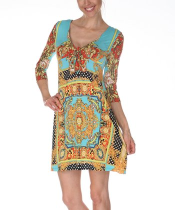 Gold & Turquoise Keyhole Tunic Dress
