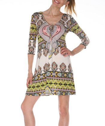 Ivory & Yellow Keyhole Dress