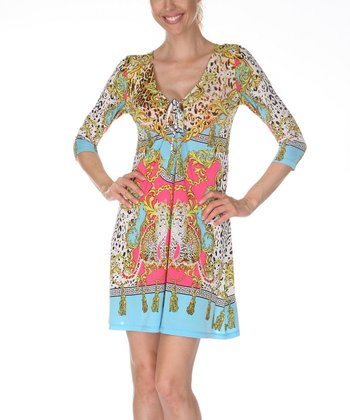 Yellow & Turquoise Keyhole Tunic Dress