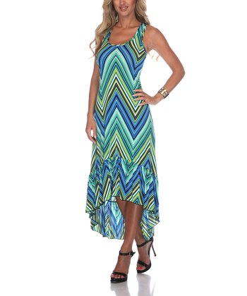 Green Zigzag Hi-Low Dress