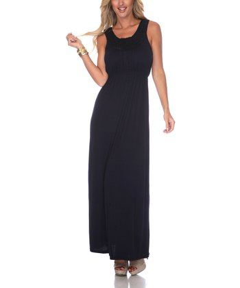 Navy Crocheted Maxi Dress