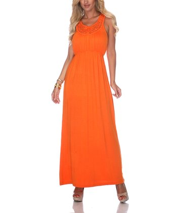Orange Crocheted Maxi Dress