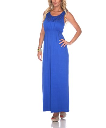 Royal Blue Crocheted Maxi Dress