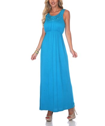 Teal Crocheted Maxi Dress