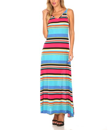 Aqua & Pink Stripe Scoop Back Maxi Dress