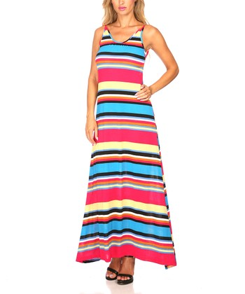 Pink & Green Stripe Scoop Back Maxi Dress