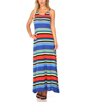Royal Blue & Red Stripe Scoop Back Maxi Dress