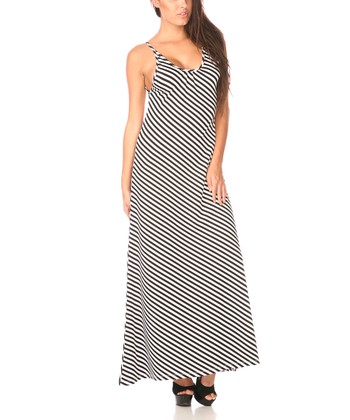 Black & White Stripe Scoop Back Maxi Dress