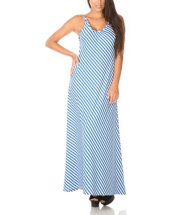 Blue & White Stripe Scoop Back Maxi Dress