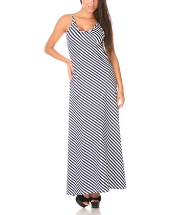 Navy & White Stripe Scoop Back Maxi Dress