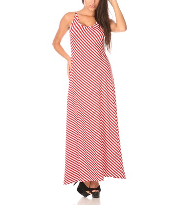 Red & White Stripe Scoop Back Maxi Dress