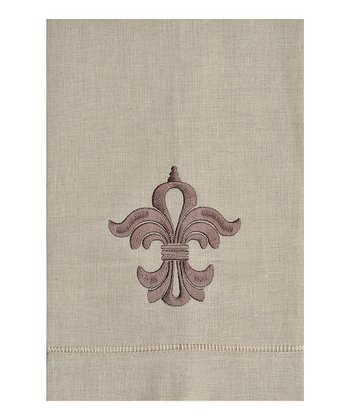 Crest Embroidered Linen Hand Towel