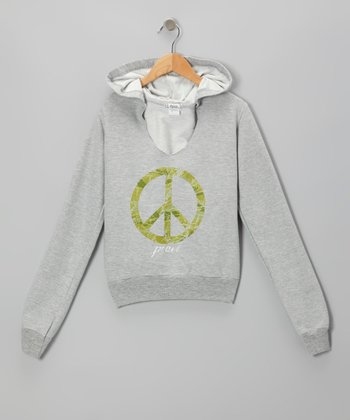 Gray & Green Camo Peace Sign Hoodie