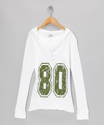 White & Green '80' Hooded Thermal