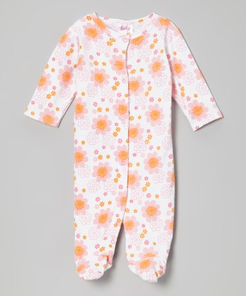 Pink & Orange Flower Footie