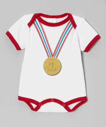 Mon Cheri Baby White & Red '#1 Crawling Champ' Bodysuit