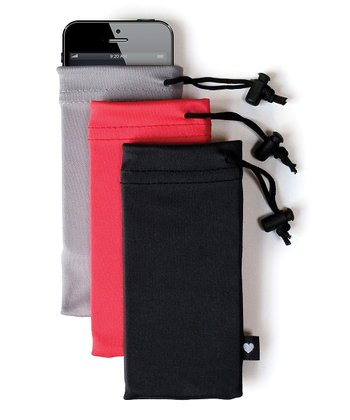 Gray, Pink & Black Pullover Carrying Bag for iPhone 5 Set