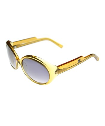 Crystal Yellow Oval Sunglasses