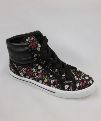 Black Floral Hi-Top Sneaker