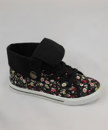 Black Floral Fold-Over Sneaker