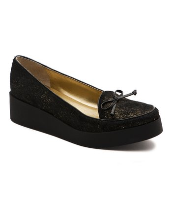Black & Gold Hair Calf Antwerp Platform Shoe