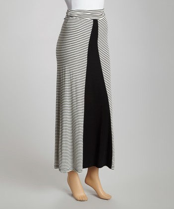 Ivory Stripe Maxi Skirt