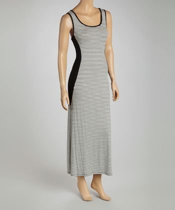 Ivory Stripe Sleeveless Maxi Dress