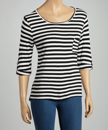 Black & White Stripe Pocket Top