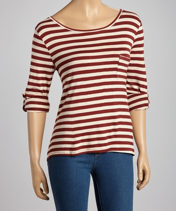 Rust & Beige Stripe Pocket Top
