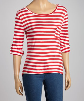 Red & White Stripe Pocket Top