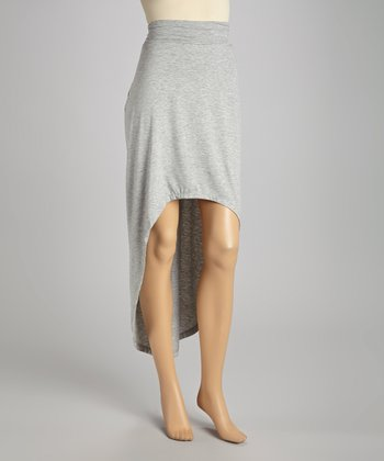 Heather Gray Hi-Low Maxi Skirt