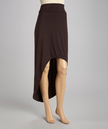 Dark Brown Hi-Low Skirt - Women