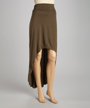 Dark Olive Hi-Low Maxi Skirt