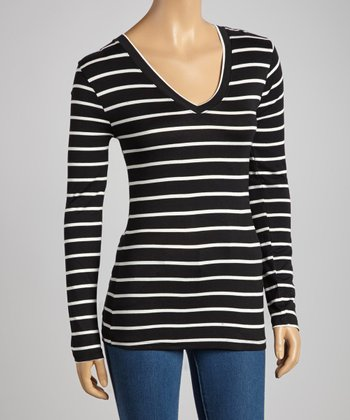 Black & White Stripe V-Neck Top