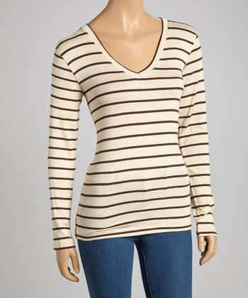 Beige & Brown Stripe V-Neck Top