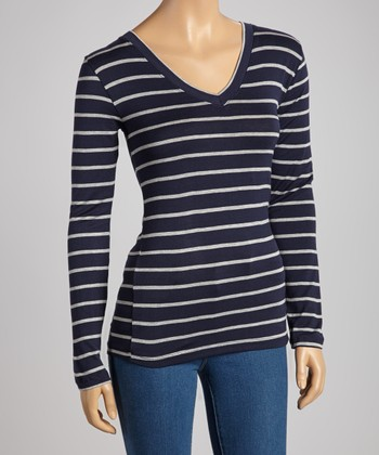 Navy & Gray Stripe V-Neck Top