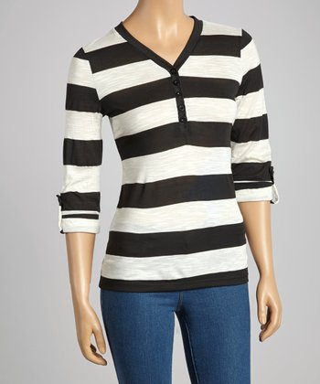 Black & Ivory Stripe Henley