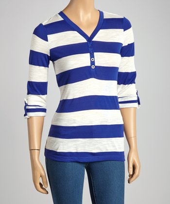 Royal & Ivory Stripe Henley Top