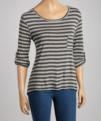 Charcoal & Gray Stripe Pocket Top