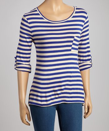 Royal & Beige Stripe Pocket Top