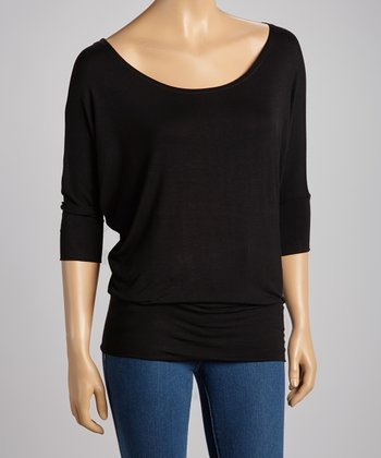 Black Boatneck Top