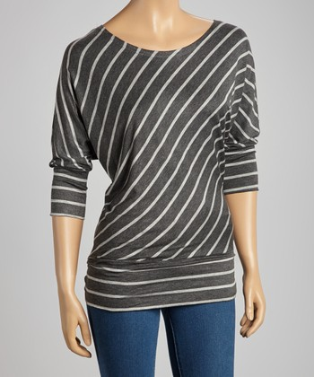 Charcoal & Gray Diagonal Stripe Top