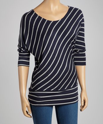 Navy & Gray Diagonal Stripe Top