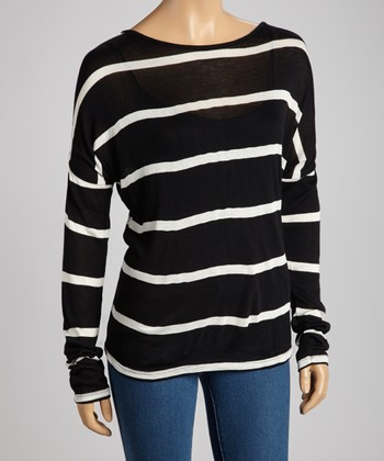 Black & Ivory Stripe Top