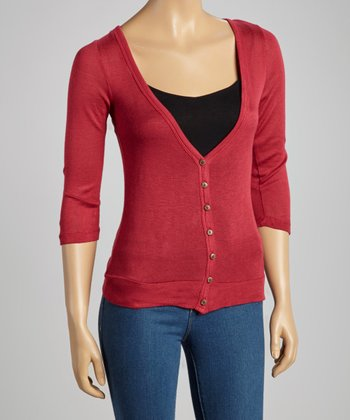 Burgundy V-Neck Cardigan