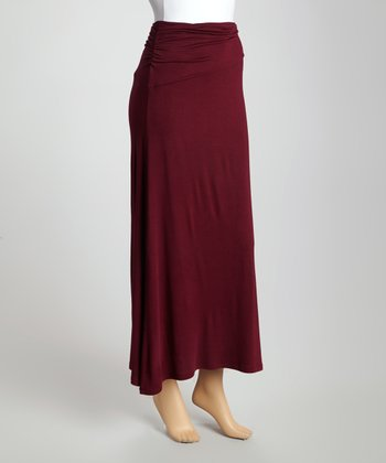 Wine Banded-Waist Skirt