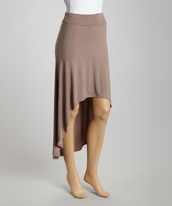 Taupe Hi-Low Maxi Skirt