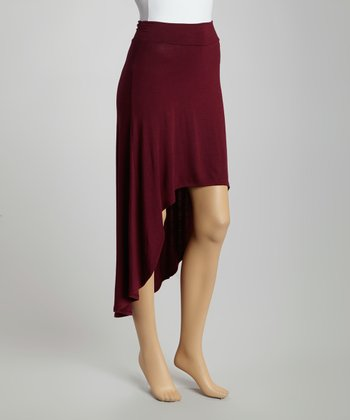 Wine Ruffle Hi-Low Skirt