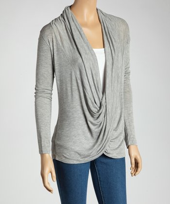 Heather Charcoal Twist Drape Top